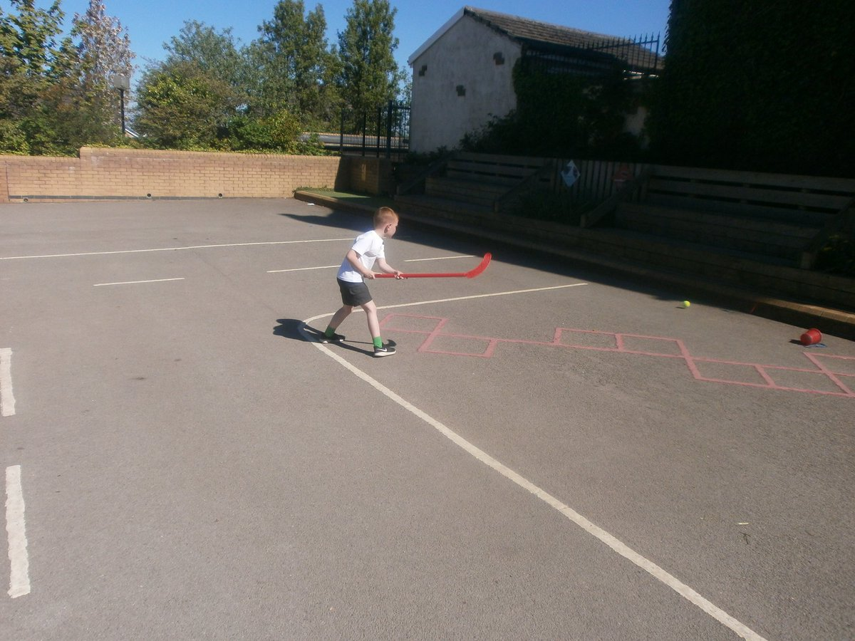 We were working on our hockey skills in the sun this